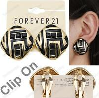 CLIP ON 3cm RETRO SQUARE EARRINGS zebra BIG enamel BLACK/GOLD PLATED comfy clips