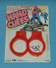 vintage Gordy THE AMAZING SPIDER-MAN HAND CUFFS MOC (faded card) rack toy