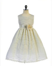 Gorgeous Ivory Lace Pageant Flower Girl Party Dress Crayon Kids USA