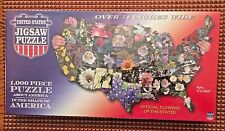 United States Jigsaw Puzzle State Flowers TDC Puzzles 1000 Piece Shape of USA