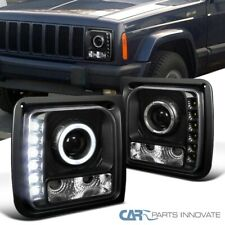 For 97-01 Jeep Cherokee Replacement Black SMD LED Halo Projector Headlights Pair