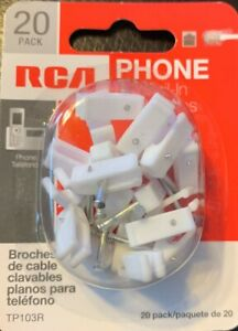 RCA TP103R Phone Flat Nail-In Cable Clips, 20pk,  FREE SHIPPING
