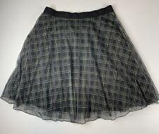 MYRINE • Black Check Net Tulle Full Skirt • Size L • NEW • RRP £107