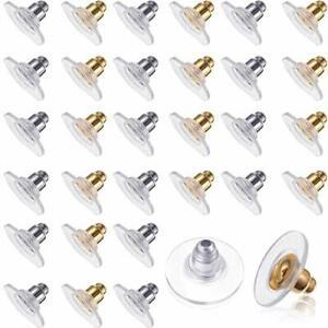 Earring Backs with Pierced Plastic Golden Silver Disc Heavy Earrings