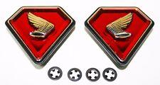 Honda CB750K 1971-76 Side Cover Emblem Set w Attachment Clips 87126-300-405 NEW!