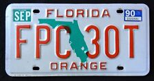 "FLORIDA "" GREEN MAP ORANGE COUNTY "" 1990 FL Vintage Classic License Plate"