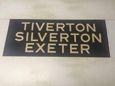 "Devon Vintage Linen Bus Blind 1966 33""- Tiverton Silverton Exeter"