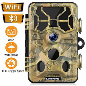 Campark WiFi Bluetooth Trail Camera 20MP Hunting Game Cam Night Vision Wild Cam