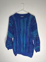 vtg 90s AUTHENTIC COOGI biggie hip hop chillwave VAPORWAVE mosaic sweater L Aqua