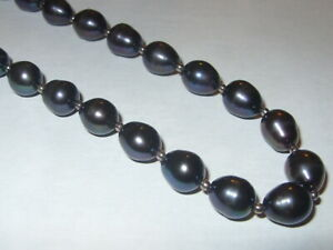 STERLING SILVER 925 REAL BLACK CULTURED PEARL BEAD NECKLACE