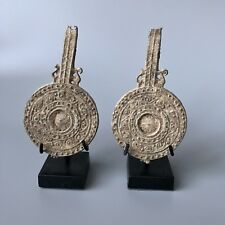 Beautiful Roman Pair Of Ritual Votive Lead Mirror With Dots & Waves Decorations