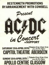 "AC/DC Glasgow Apollo 16"" x 12"" Photo Repro Concert Poster"