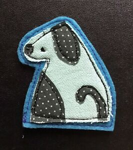 Brooch Green Denim Dog Appliqué Fabric Machine Embroidered Handmade