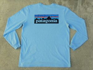 Patagonia Responsibili-Tee Fitz Roy logo Long Sleeve T-Shirt Men's M Light Blue