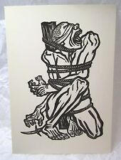 RARE VINTAGE LI HUA POSTCARD CHINA ROAR WOODCUT GUGGENHEIM TRADITIONAL FOLK ART