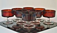VINTAGE ARCOROC FRANCE SET OF 8 RUBY RED CLEAR CHAMPAGNE DESSERT GLASSES