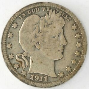 1911 D Barber Quarter Dollar 90% Silver 25 Cent US Coin Denver United States