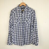 Buckle Black Men's Relaxed Fit shirt Western plaid long sleeve medium Blue White