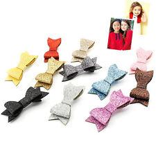 Baby Girl Hairbow Hairpins Chic Glitter Leather Bow Hair Clips Hair Headwear EW