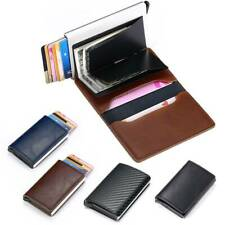 Men Auto Credit Card Holder Leather RFID Blocking Small Metal Wallet Money Clip*