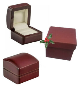 Luxury real wood cherry red proposal ring box