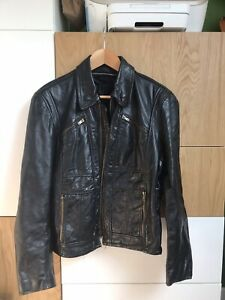 Vintage Black 70s Lesco style leather jacket 36 small - bomber, mod style