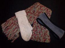 Hand Crocheted Cranberry & Sage WRAP SCARF MITTENS Fleece Headband