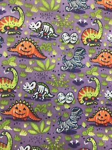 Halloween dinosaurs pumpkin/mummies design poly cotton fabric