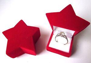 Red Velvet STAR Ring Jewellery Gift Box-Ring/Earrings-Engagement Wedding-Propose