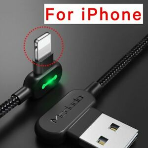 90 Degrees USB Cable For iPhone Apple X 8 7 6 5 6s Plus Charger Led Fast Nylon