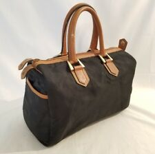 Christian Dior Rare Vintage Speedy Bag Black Monogram Canvas Brown Leather Trim