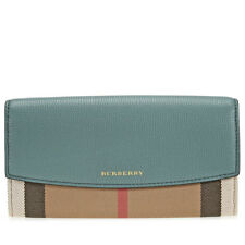 Burberry House Check and Leather Continental Wallet - Smokey Green