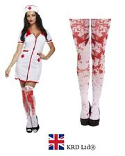 ADULT BLOODY SEXY NURSE + TIGHTS Halloween Fancy Dress Costume Party Zombie UK