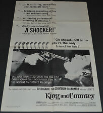 Joseph Losey's KING AND COUNTRY 1966 ORIG. MOVIE POSTER! DIRK BOGARDE WW1 DRAMA
