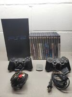 SONY PLAYSTATION 2 PS2 FAT CONSOLE with 2 Remotes & 14 games ALL Complete & Card