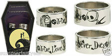 THE NIGHTMARE BEFORE CHRISTMAS HIS AND HER WEDDING RING SET WITH COFFIN BOX