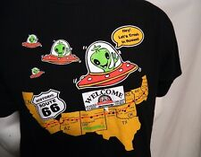Historic Route 66 Midpoint Lets Crash Roswell Alien Black Graphic T Shirt Large