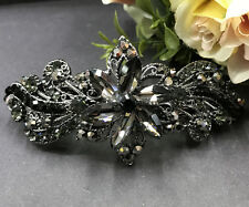 New fashion black color Austrian crystal metal flower hair clip