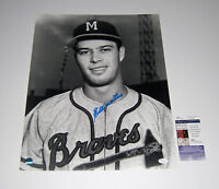 1957 BRAVES Eddie Mathews signed 16x20 photo JSA COA AUTO Milwaukee smudge
