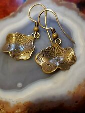 Engraved Dangle Earrings Artisan Handmade Brass Tone