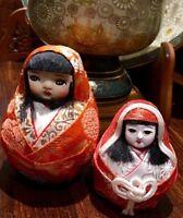 Pair Old Vintage Japanese Dolls