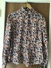 T M LEWIN Floral Fitted SHIRT Blouse Knotted BLck Cufflinks SIZE 12 VGC