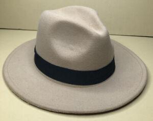 Fedora Hat Beige-Tan Soft Felt w/Black Ribbon Trim Wide Brim Adjustable Interior