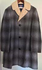 •PENDLETON Western Wear 100% Virgin Wool Coat Gray and Blue Plaid Men's Sz 38•