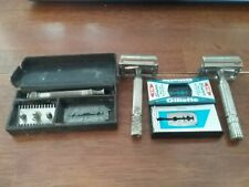 Vintage single edge razors.one With Box,unknown .Other 2 are Gillette's