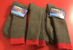 """NEW""BOY SCOUT UNIFORM Army Green 3 Pair Knee Socks Boy's Size Large / Medium"