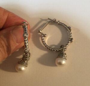 Judith Ripka Sterling Silver 925 CZ Diamonique Hoop Earrings