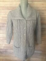 Aran Crafts Gray Sweater Cardigan Coat Cable Knit 100% Wool Women's Size S