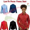 Fruit of the Loom Ladies Long Sleeve Poplin Shirt Formal Work Wear Office Blouse