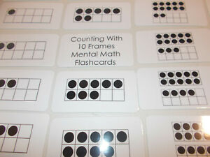 Ten Frame Counting Flashcards.  23 Laminated Preschool Educational Cards. Number